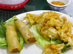 Vietnamese Eggrolls and Shredded yam and shrimp cakes